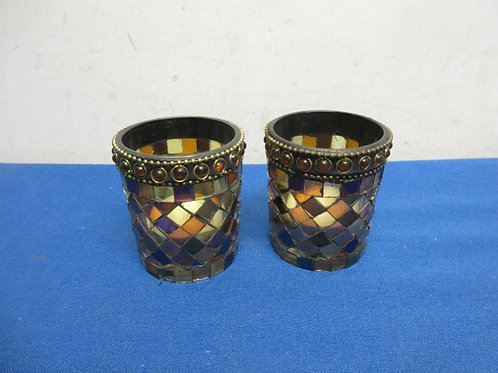 Pair of colorful mosaic votive candle holders with tealites