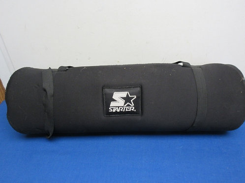 Starter black foam exercise mat with carry straps