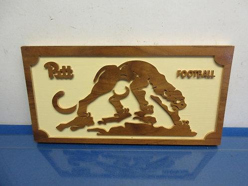"Inlaid wood Pitt football wall hanging, 8x17"""