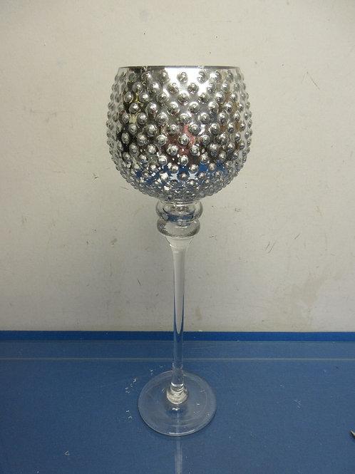 Large stem glass silver decorative tea light candle holder
