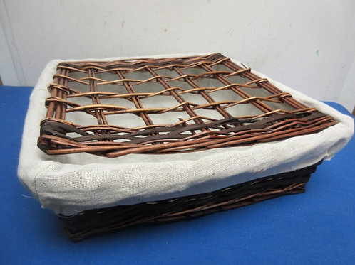 Square woven basket with cloth liner and woven lid - 15x15x4