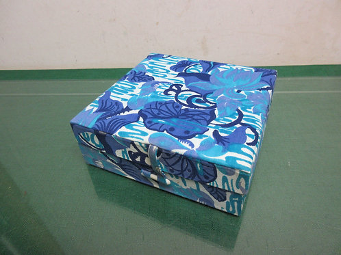 "Blue floral design square jewelry box 6x6x2""high"