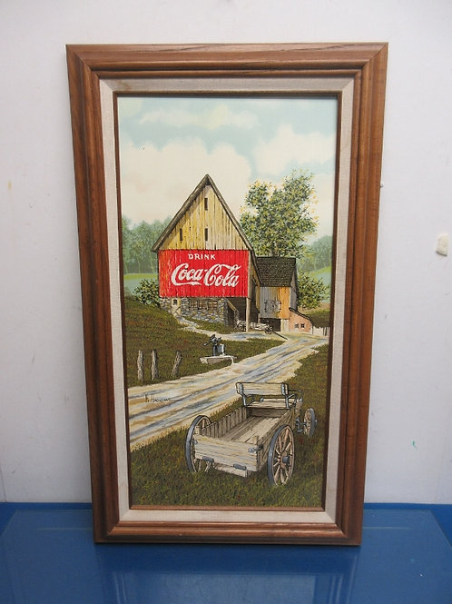 Country print of barn with a drink coca cola sign painted on side-wood frame