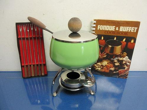Vintage green fondue set, includes pot, stand, long forks & cookbook