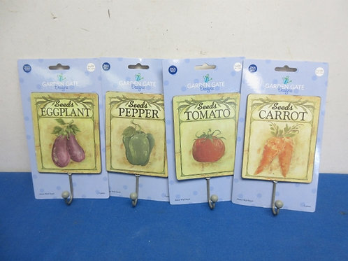 Set of 4 seed packet wall hook