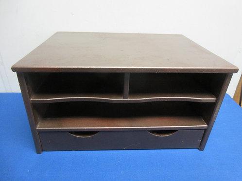Brown wood desktop organizer with 1 drawer - 12x16x9