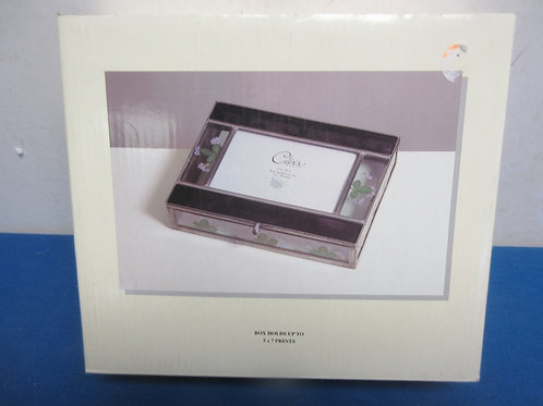 Stained glass hinged photo box