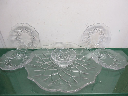 Cut glass chip & dip set with 4 small glass individual plates