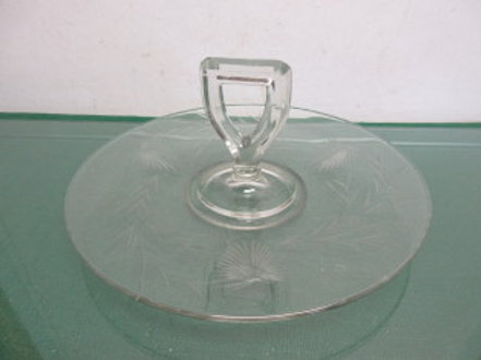 Vintage Etched glass one pc serving tray with handle in the middle