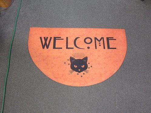 orange halloween half circle welcome mat