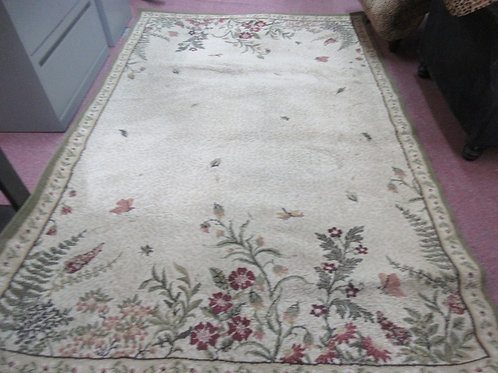 """Green tone large area rug with flower garden design 63 x94"""""""