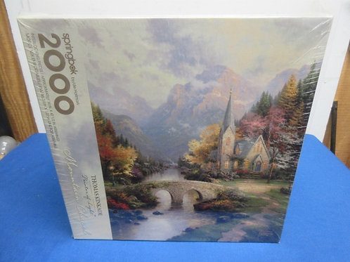 "Thomas Kinkade ""Mountain chapel"" 2000 pc jigsaw puzzle/sealed"