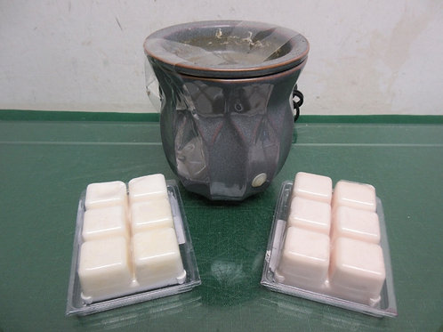 "Gray ceramic  electric wax burner 4.5"" tall w/2 wax packages"