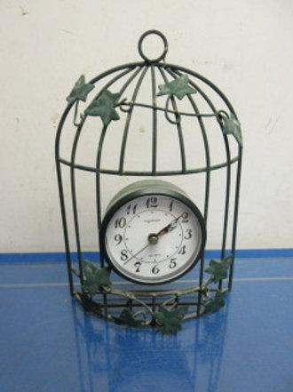 "Green metal birdcage wall clock 9""high"
