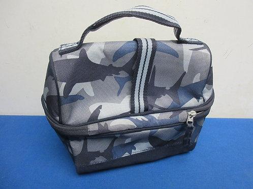 Blue insulated shark theme lunch bag