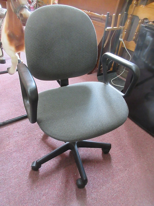 Gray office chair on wheels with arms, height of chair adjusts