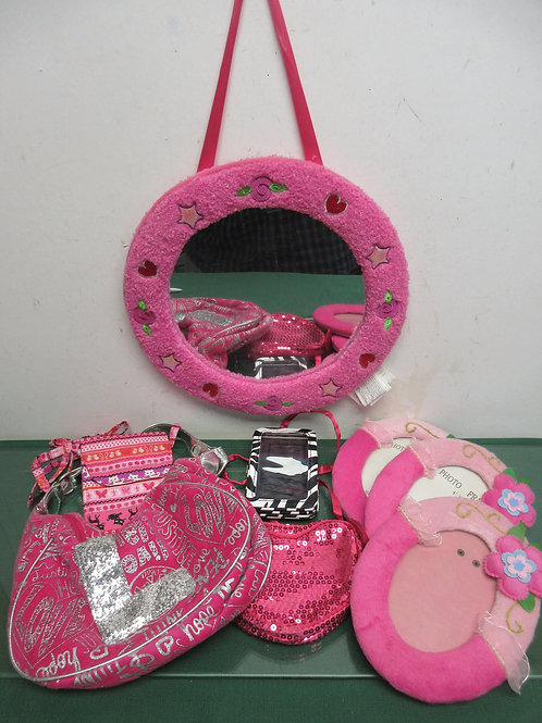 Set of 8 items, 7 pink &1 zebra-mirror,frames,purses,wallet...