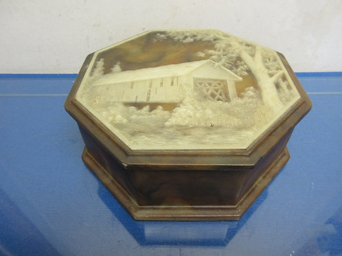"""Octagon hinged brown faux marble keepsake box with covered bridge on lid 9x9x3"""""""