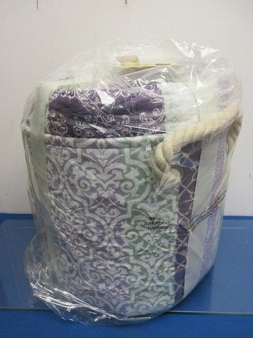 Home Reflections - purple, white & green 3 pc king quilt set in storage bin - ne
