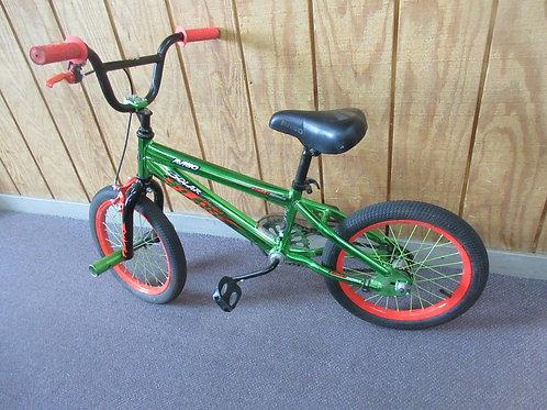 "Aviago Solar Flare 16"" bike with bars on wheels - green and orange"