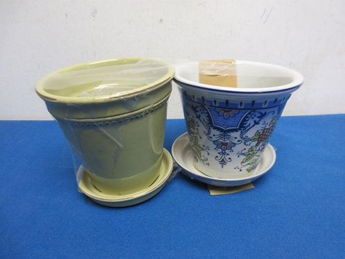 """Pair of small ceramic plant pots, one sage green, one blue oriental design,  4"""""""
