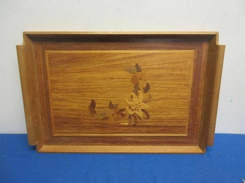 Rectangular wooden tray with inlaid flower design 12x19