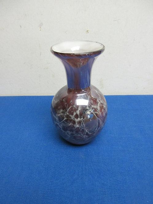 "Small light purple marble design vase, 6""tall"