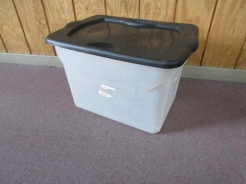 Homz clear storage bin with black lid