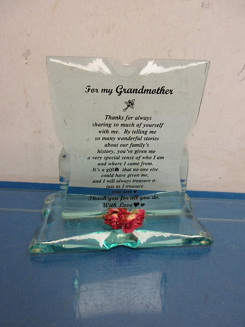 """Cut glass decorative piece """"For my grandmother"""""""