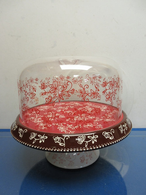 Temptations Red Floral Lace pedestal cake stand w/plastic dome & flips to veggie