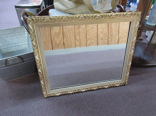 """Gold brushed with white floral framed mirror 22x26"""""""