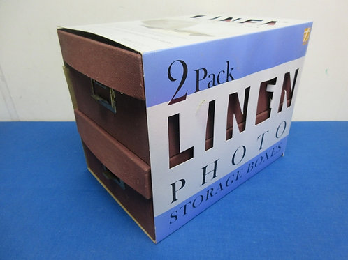 Thompson 2 pack linen photo storage boxes - brand new