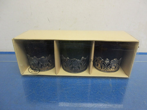 Set of 3 colored votive glass candle holders
