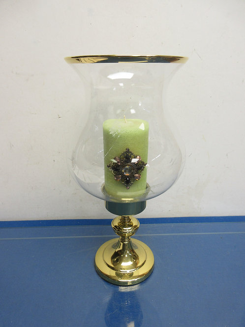"""Gold base pillar candle stand with large glass hurricane shade 15""""high"""
