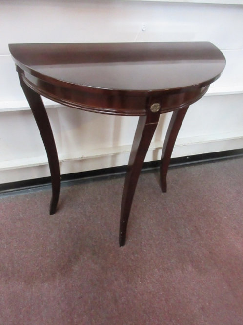 """Cherry half circle accent table with glass topper,12x24x28"""" high"""