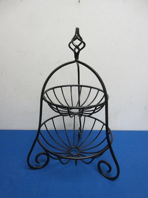 Black metal curved ornate design 2 tier footed basket