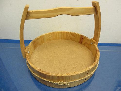 """Low wooden decorative basket with handle 11""""diameter x 2""""deepp"""