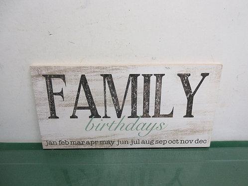 """Wood plaque """"Family Birthday..."""" 8x16"""""""