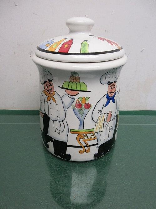 Chez Philippe Blanca handpainted chef design sealing cookie jar