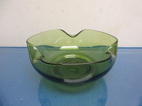 Green glass seving bowl with wavy edges