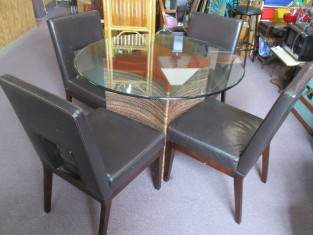 Surprising Pier 1 Imports Glass Top Rattan Base Table And 4 Brown Bonded Leather Chairs Creativecarmelina Interior Chair Design Creativecarmelinacom
