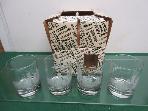 Set of 4 old fashioned glasses with pittsburgh skyline