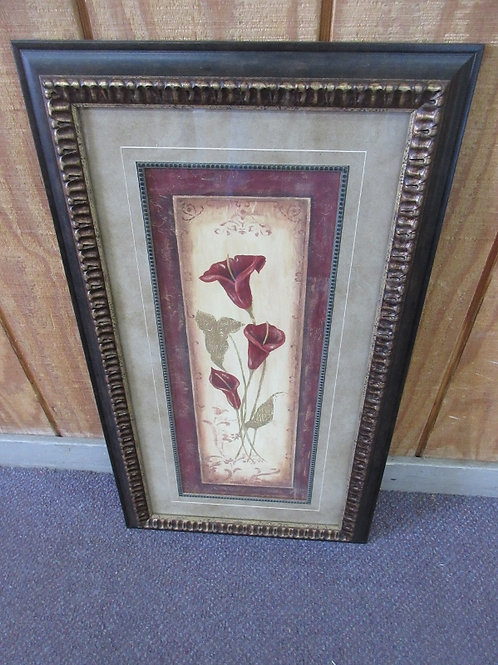 Vertical red lily print, 16x28