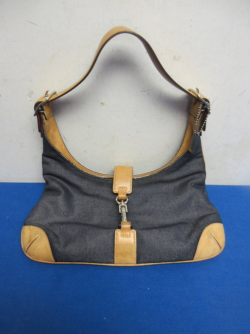 Coach purse, navy and tan