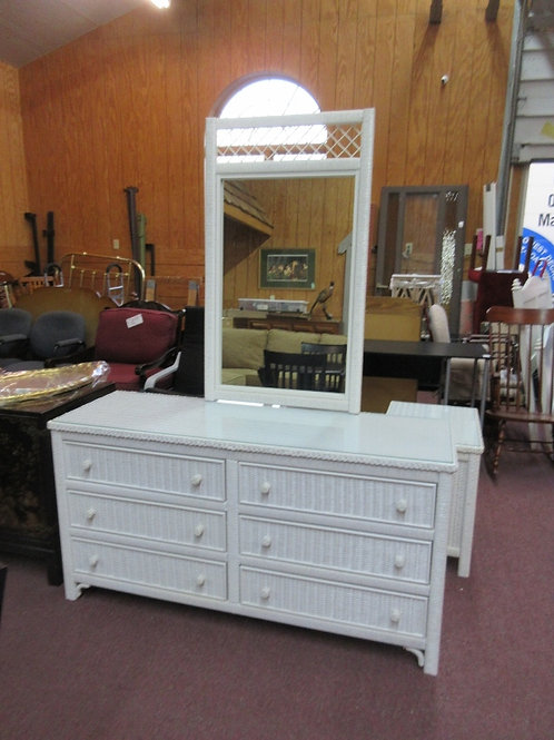 Lexington white wicker 6 drawer dresser with mirror - 58x19x30