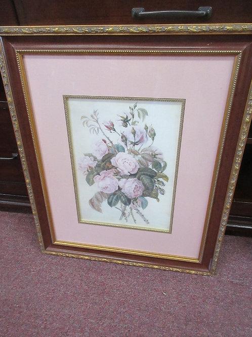 Pine Rose print, pink mat, gold frame, 22x26