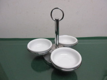 Set of 3 white porcelain condiment bowls with a chrome caddy