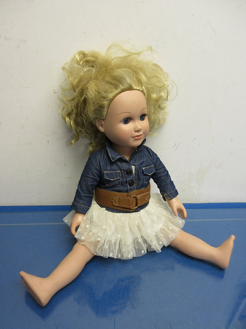 Doll with jean jacket-blonde hair-18""