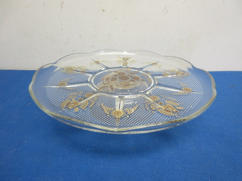 """Glass pedestal cake plate with gold print, 11"""" dia"""