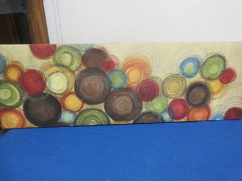 Modern stretched vinyl print of multi colored circles, 12x36, 2 similar prints a